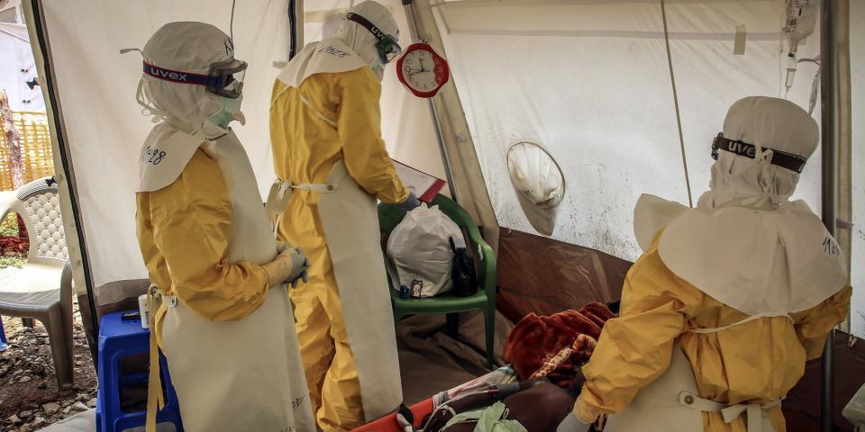 攝於伊波拉治療中心。©Carl Theunis/MSF