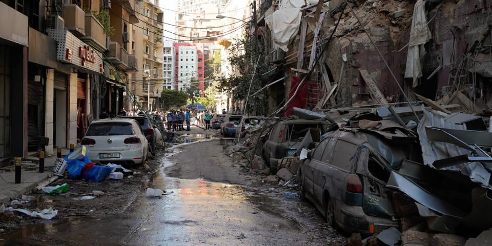 黎巴嫩貝魯特大爆炸,市中心的街道嚴重毀損。