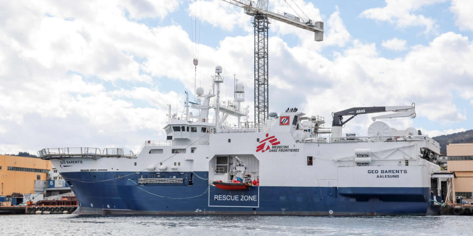 MSF新租下的 Geo Barents 號,在挪威已經準備好要出航。©MSF/Avra Fialas