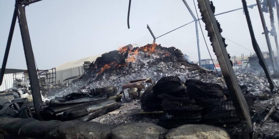 無國界醫生的基地、辦公室和藥房被徹底焚毀。©MSF