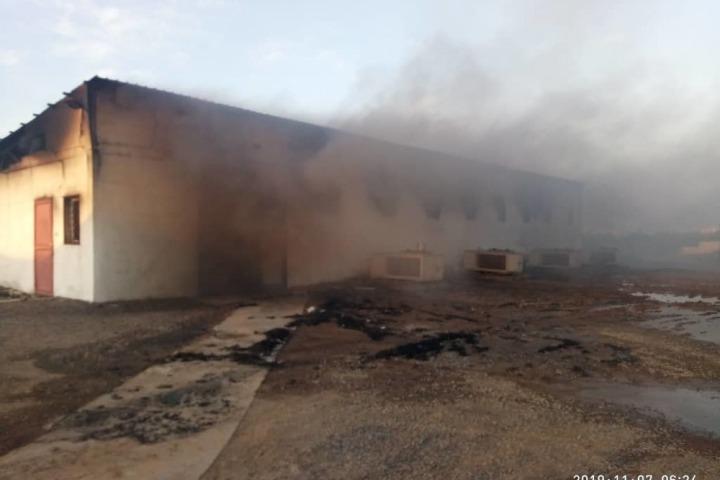 摩卡醫院院區內,一處受空襲影響被毀的設施。© MSF