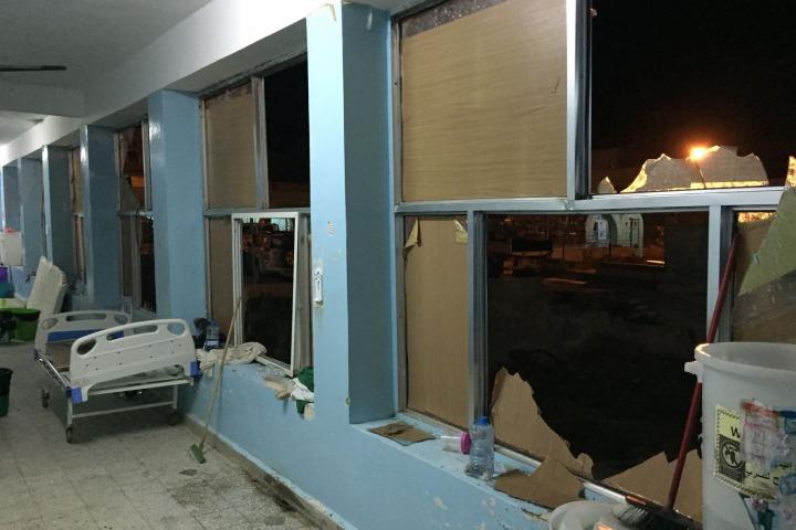 無國界醫生在哈佳巿支援的甘胡利(Al Gamhouri )醫院遇襲被毀 ©MSF