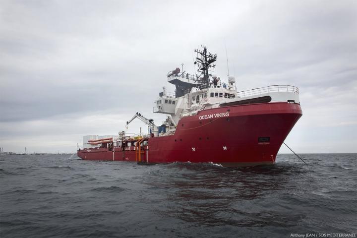 無國界醫生將恢復在地中海中部的搜救任務。圖為參與該次任務的挪威補給船「海洋維京人」,由無國界醫生和SOS MEDITERRANEE組織共同運作。©Anthony Jean/SOS MEDITERRANEE
