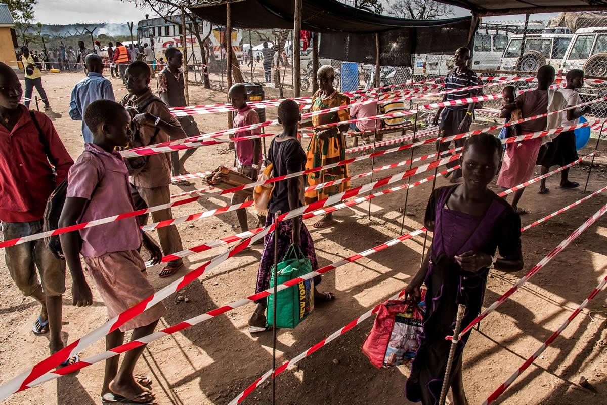 伊姆維皮難民安置區在今年2月正式啟用,是目前主要接收新難民的地方,將近飽和。© Frederic NOY/COSMOS
